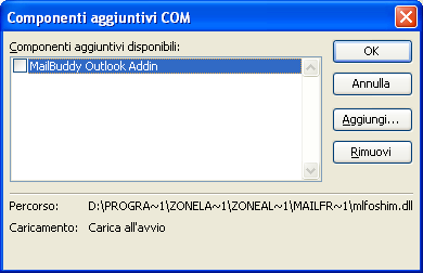 outlook componenti COM