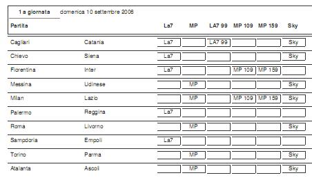 Calendario Settembre 2007.Calendario Serie A Tim 2006 2007 I Canali Televisi Per Le