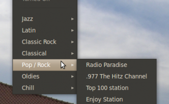 radio tray menu