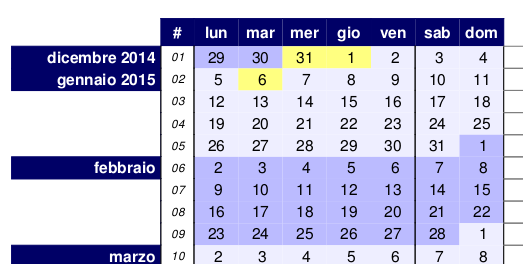 calendario compatto 2015