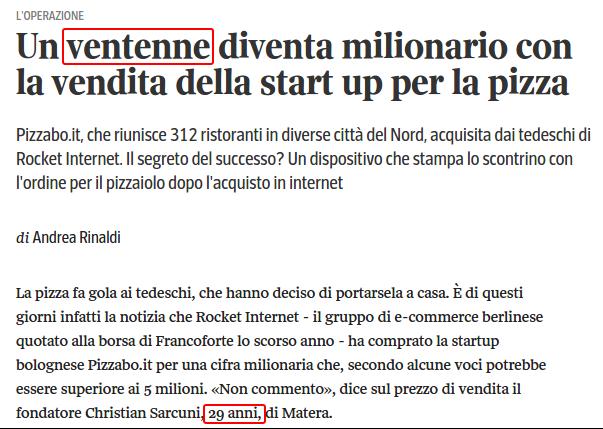 Un ventenne diventa milionario con la vendita della start up per la pizza   Corriere.it