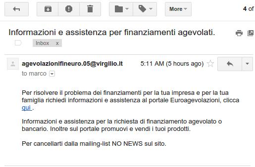 spam agevolazionifineuro